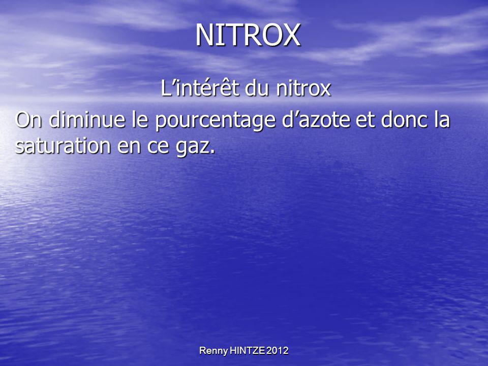Renny HINTZE 2012 NITROX L'intérêt du nitrox L'intérêt du nitrox On diminue le pourcentage d'azote et donc la saturation en ce gaz.