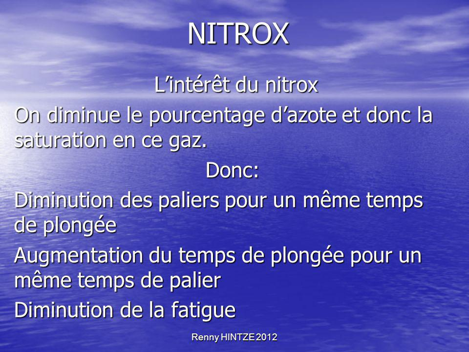 Renny HINTZE 2012 NITROX L'intérêt du nitrox L'intérêt du nitrox On diminue le pourcentage d'azote et donc la saturation en ce gaz. Donc: Diminution d