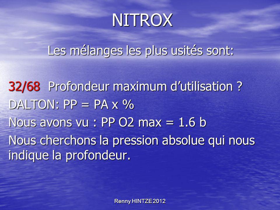 Renny HINTZE 2012 NITROX Les mélanges les plus usités sont: Les mélanges les plus usités sont: 32/68 Profondeur maximum d'utilisation ? DALTON: PP = P