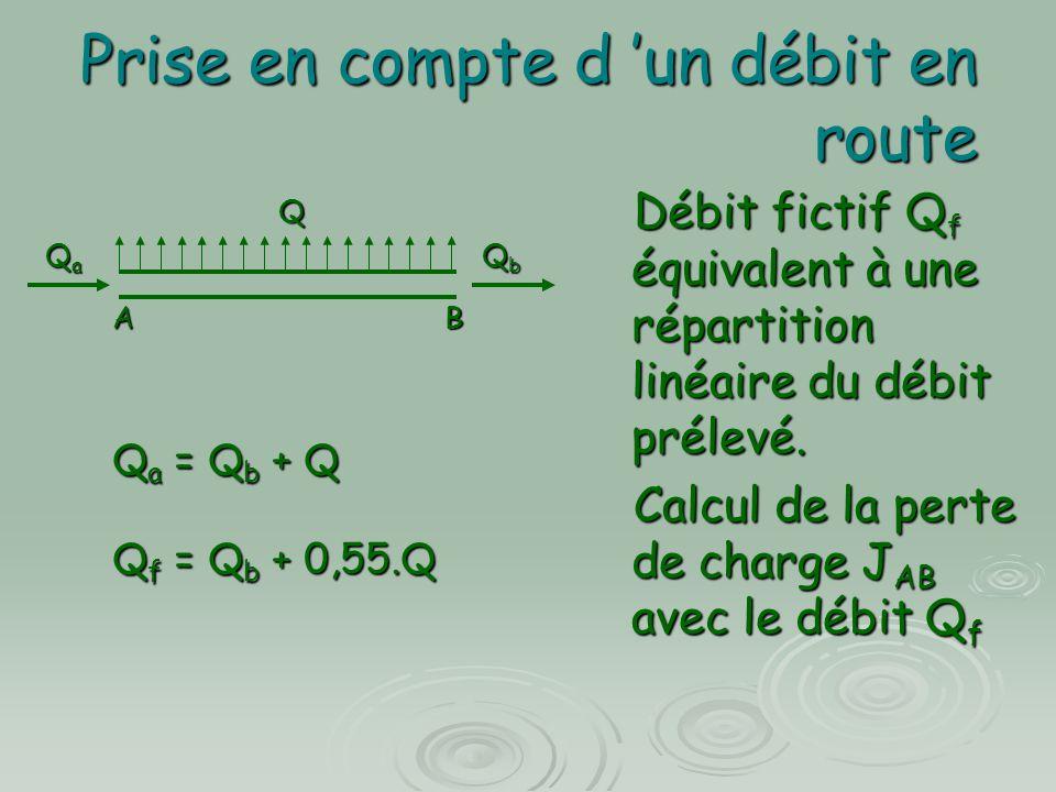 Prise en compte d 'un débit en route Débit fictif Q f équivalent à une répartition linéaire du débit prélevé. Débit fictif Q f équivalent à une répart