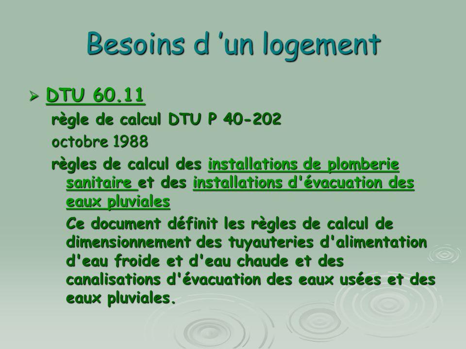 Besoins d 'un logement  DTU 60.11 DTU 60.11 DTU 60.11 règle de calcul DTU P 40-202 octobre 1988 règles de calcul des installations de plomberie sanit