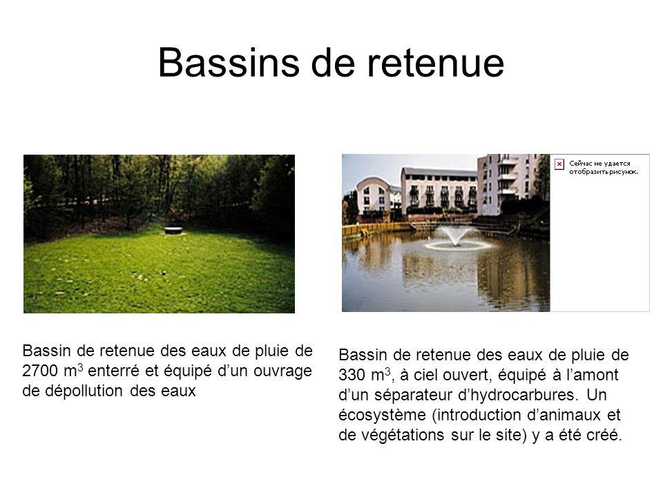Bassins de retenue Bassin de retenue des eaux de pluie de 2700 m 3 enterré et équipé d'un ouvrage de dépollution des eaux Bassin de retenue des eaux d