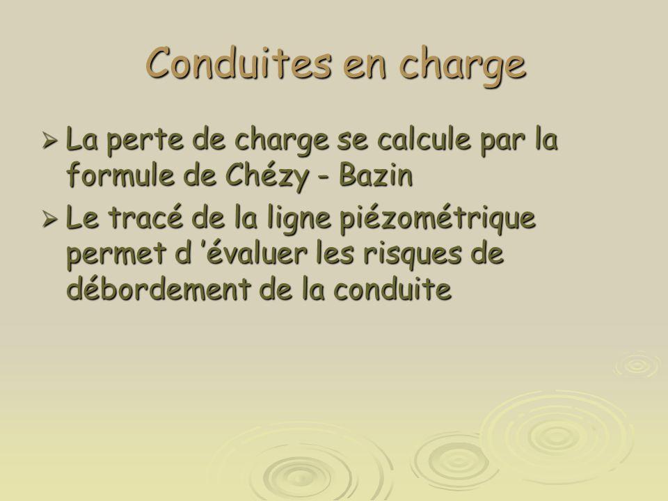 Conduites en charge  La perte de charge se calcule par la formule de Chézy - Bazin  Le tracé de la ligne piézométrique permet d 'évaluer les risques
