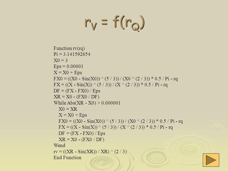 r V = f(r Q ) Function rv(rq) Pi = 3.141592654 X0 = 3 Eps = 0.00001 X = X0 + Eps FX0 = ((X0 - Sin(X0)) ^ (5 / 3)) / (X0 ^ (2 / 3)) * 0.5 / Pi - rq FX