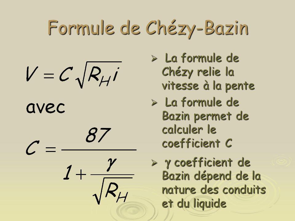 Formule de Chézy-Bazin  La formule de Chézy relie la vitesse à la pente  La formule de Bazin permet de calculer le coefficient C   coefficient de