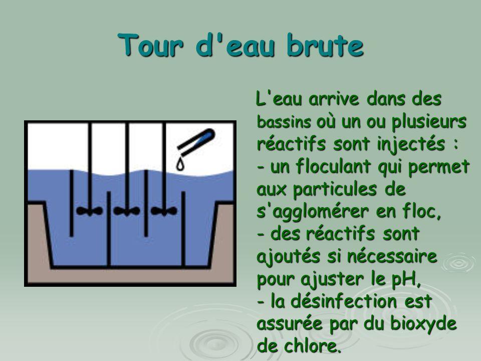 Tour d'eau brute L'eau arrive dans des bassins où un ou plusieurs réactifs sont injectés : - un floculant qui permet aux particules de s'agglomérer en