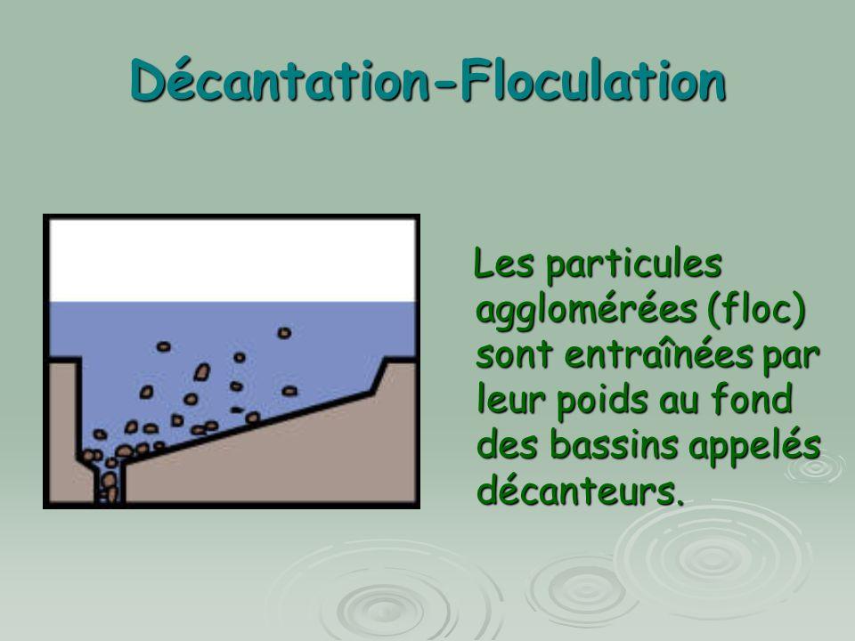 Décantation-Floculation Les particules agglomérées (floc) sont entraînées par leur poids au fond des bassins appelés décanteurs. Les particules agglom