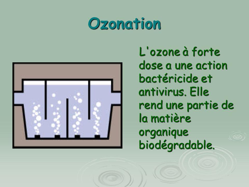 Ozonation L'ozone à forte dose a une action bactéricide et antivirus. Elle rend une partie de la matière organique biodégradable. L'ozone à forte dose