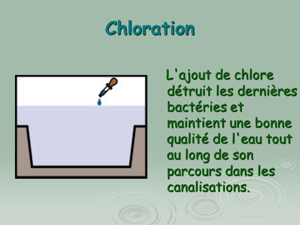 Chloration L'ajout de chlore détruit les dernières bactéries et maintient une bonne qualité de l'eau tout au long de son parcours dans les canalisatio