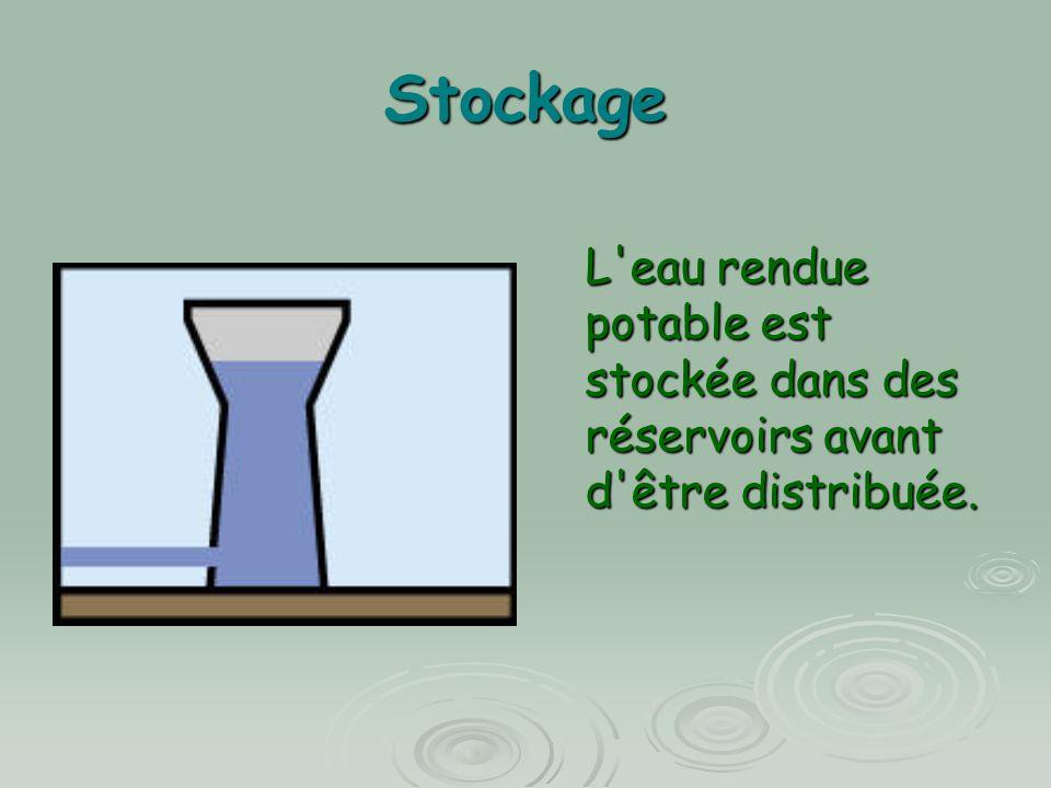 Stockage L'eau rendue potable est stockée dans des réservoirs avant d'être distribuée.