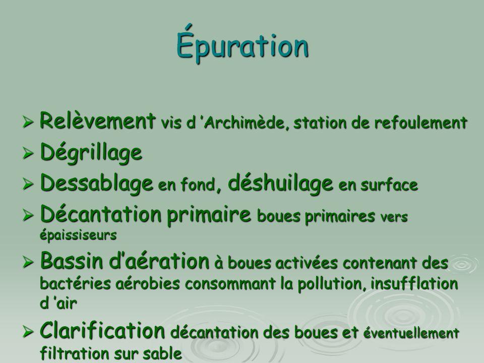 Épuration  Relèvement vis d 'Archimède, station de refoulement  Dégrillage  Dessablage en fond, déshuilage en surface  Décantation primaire boues