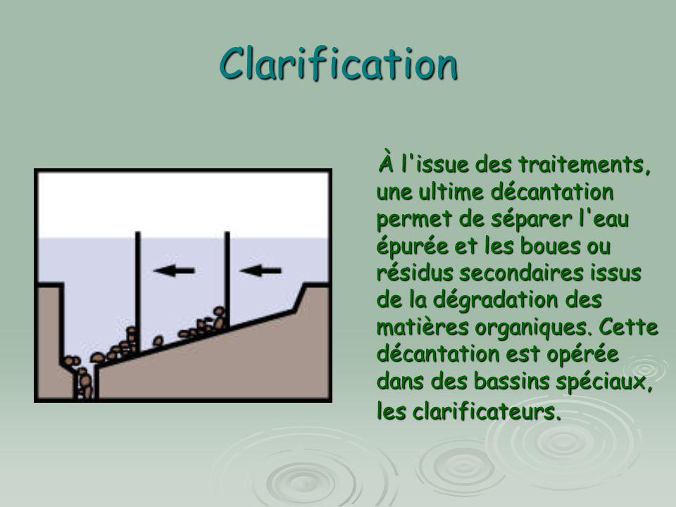 Clarification À l'issue des traitements, une ultime décantation permet de séparer l'eau épurée et les boues ou résidus secondaires issus de la dégrada