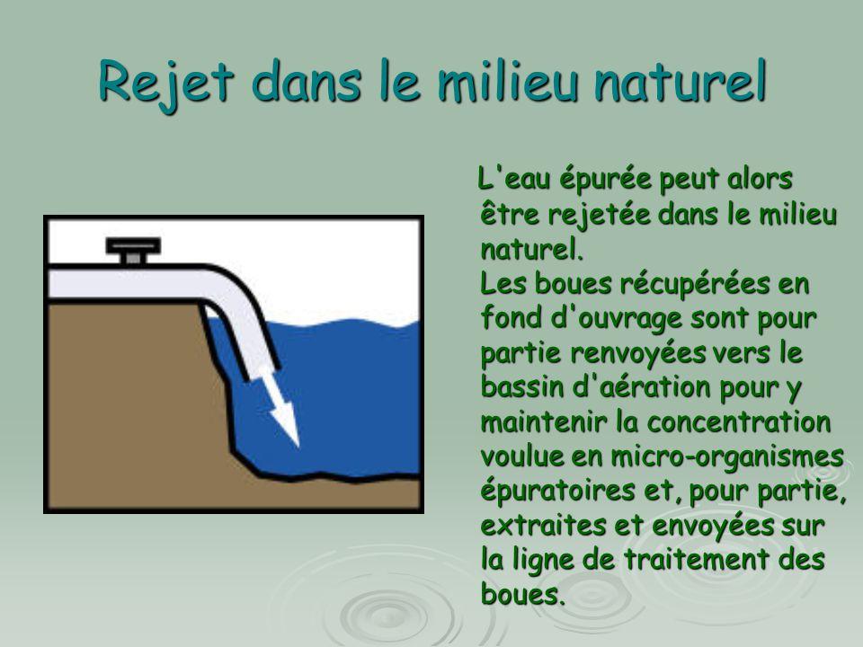 Rejet dans le milieu naturel L'eau épurée peut alors être rejetée dans le milieu naturel. Les boues récupérées en fond d'ouvrage sont pour partie renv