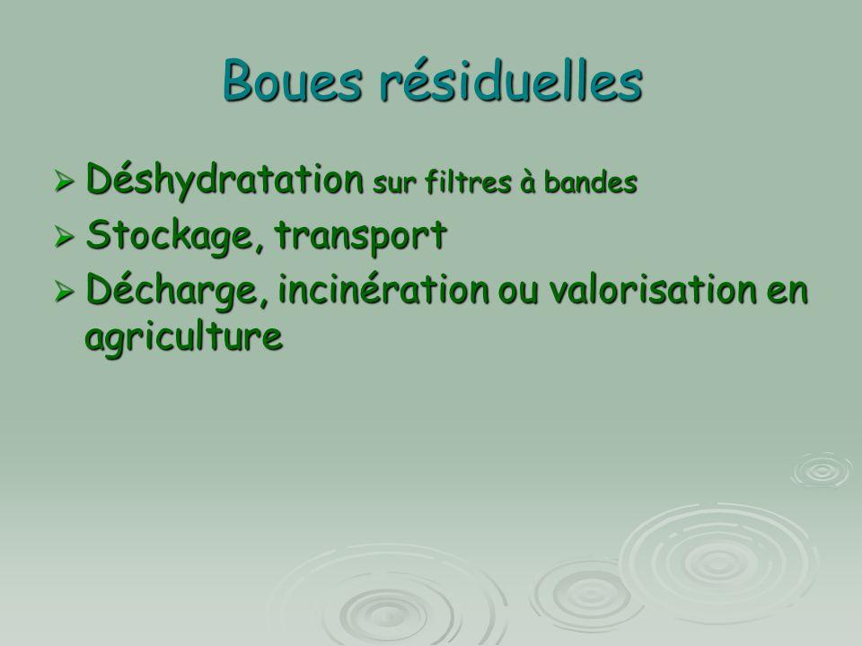 Boues résiduelles  Déshydratation sur filtres à bandes  Stockage, transport  Décharge, incinération ou valorisation en agriculture