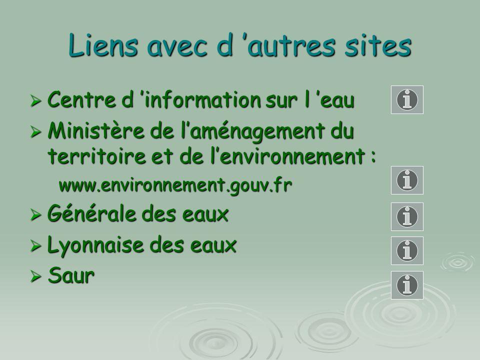 Liens avec d 'autres sites  Centre d 'information sur l 'eau  Ministère de l'aménagement du territoire et de l'environnement : www.environnement.gou