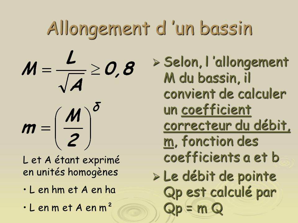 Allongement d 'un bassin  Selon, l 'allongement M du bassin, il convient de calculer un coefficient correcteur du débit, m, fonction des coefficients