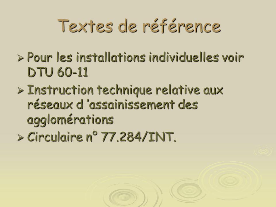 Textes de référence  Pour les installations individuelles voir DTU 60-11  Instruction technique relative aux réseaux d 'assainissement des aggloméra