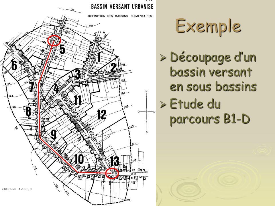 Exemple  Découpage d'un bassin versant en sous bassins  Etude du parcours B1-D