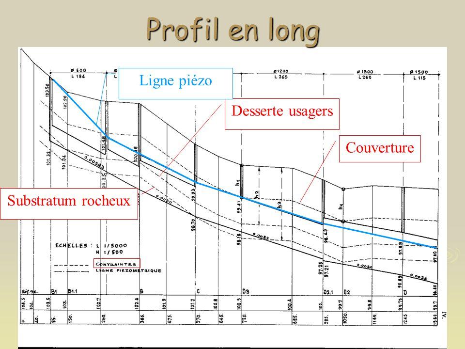 Profil en long Couverture Desserte usagers Substratum rocheux Ligne piézo