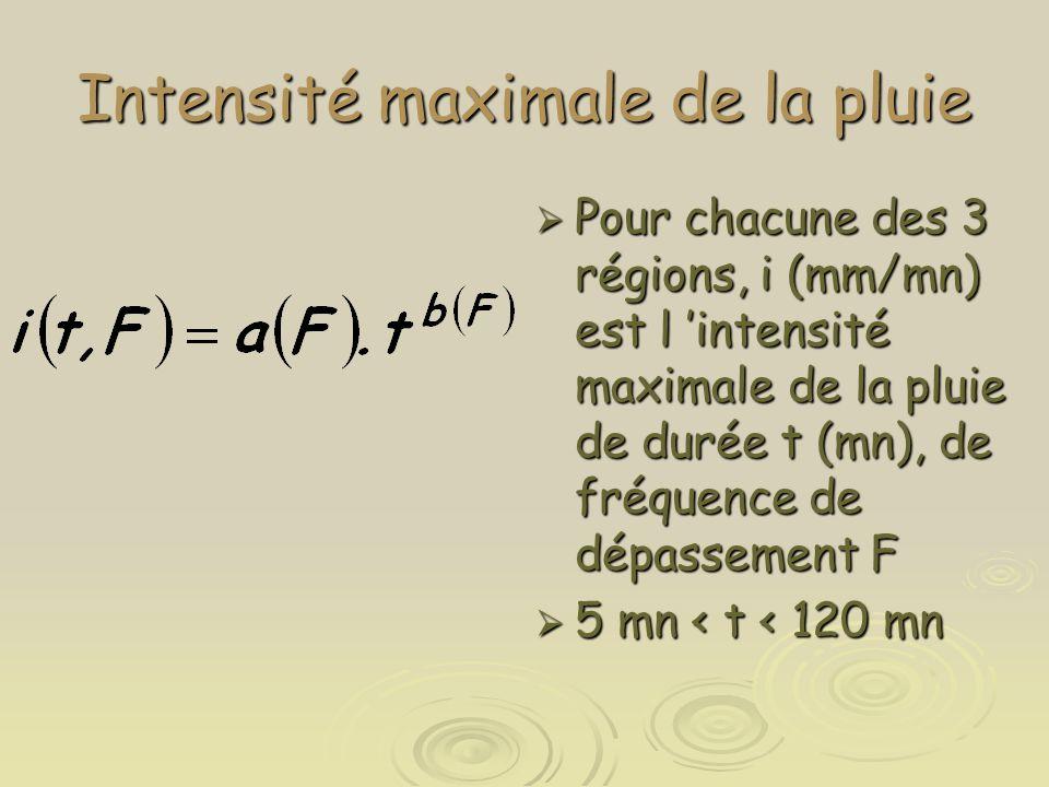 Intensité maximale de la pluie  Pour chacune des 3 régions, i (mm/mn) est l 'intensité maximale de la pluie de durée t (mn), de fréquence de dépassem