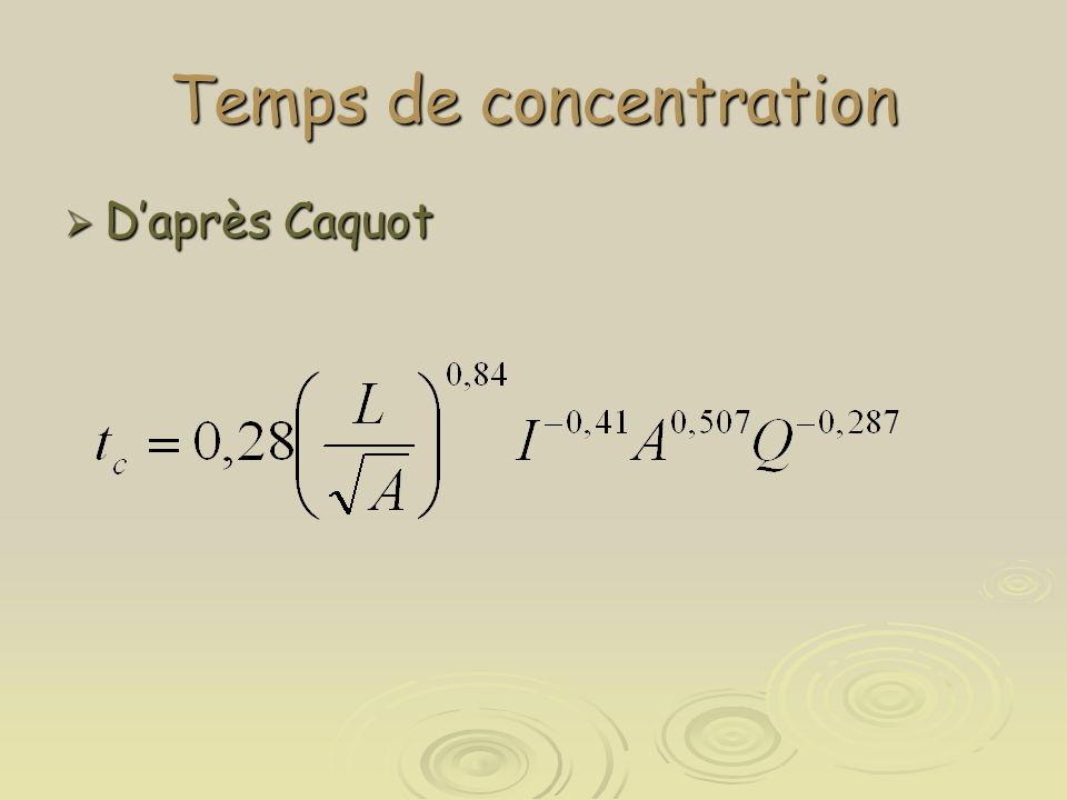 Temps de concentration  D'après Caquot