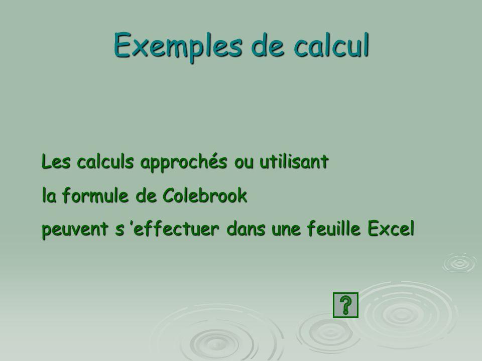 Exemples de calcul Les calculs approchés ou utilisant la formule de Colebrook peuvent s 'effectuer dans une feuille Excel