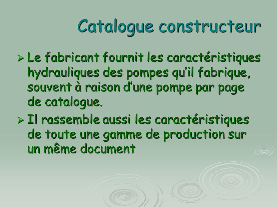 Catalogue constructeur  Le fabricant fournit les caractéristiques hydrauliques des pompes qu'il fabrique, souvent à raison d'une pompe par page de ca