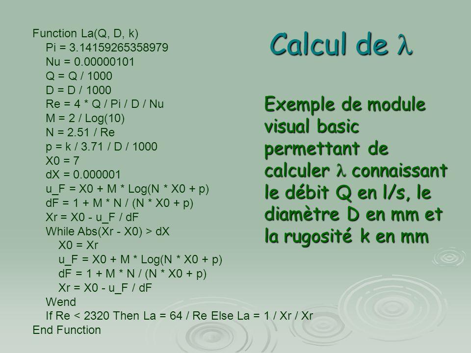 Calcul de Calcul de Function La(Q, D, k) Pi = 3.14159265358979 Nu = 0.00000101 Q = Q / 1000 D = D / 1000 Re = 4 * Q / Pi / D / Nu M = 2 / Log(10) N =