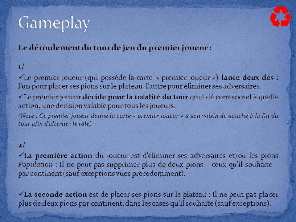 Le déroulement du tour de jeu du premier joueur : 1/ Le premier joueur (qui possède la carte « premier joueur ») lance deux dés : l'un pour placer ses pions sur le plateau, l'autre pour éliminer ses adversaires.