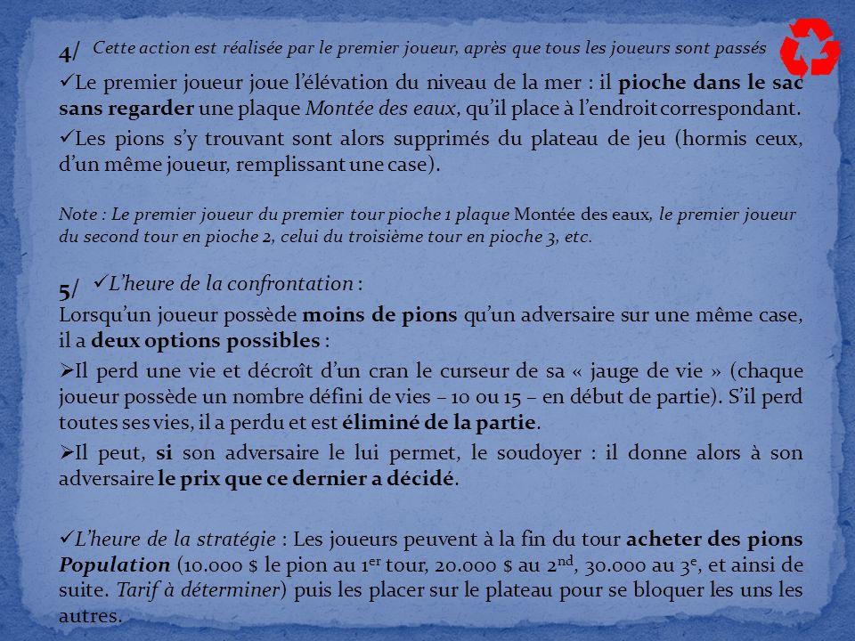4/ Le premier joueur joue l'élévation du niveau de la mer : il pioche dans le sac sans regarder une plaque Montée des eaux, qu'il place à l'endroit correspondant.