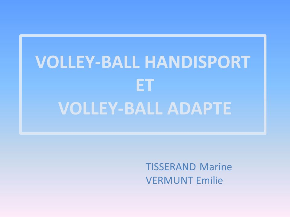 VOLLEY-BALL HANDISPORT ET VOLLEY-BALL ADAPTE TISSERAND Marine VERMUNT Emilie