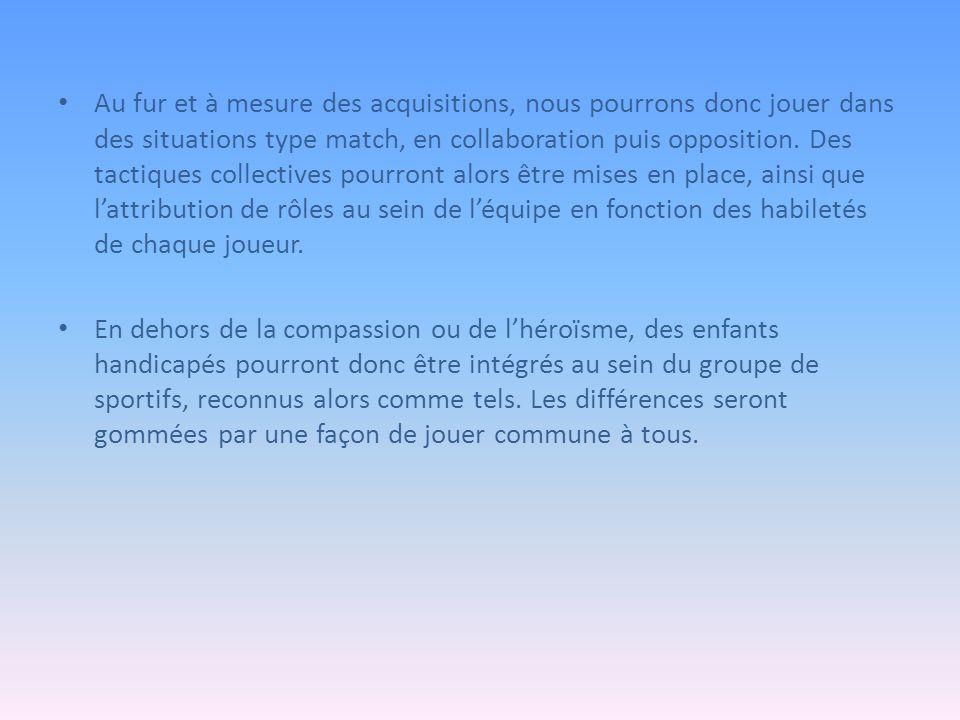 Au fur et à mesure des acquisitions, nous pourrons donc jouer dans des situations type match, en collaboration puis opposition.