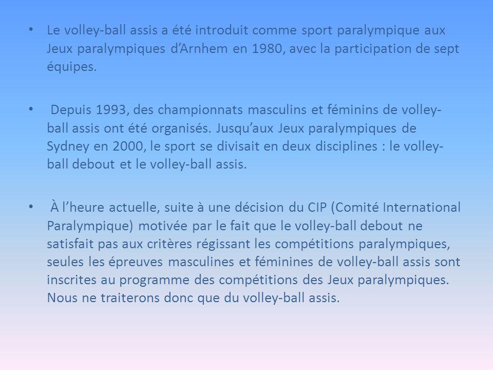 Description de l'activité Le volley-ball est régi par la World Organization Volleyball for Disabled (WOVD).