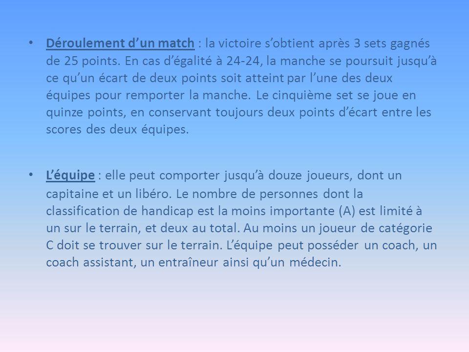 Déroulement d'un match : la victoire s'obtient après 3 sets gagnés de 25 points.