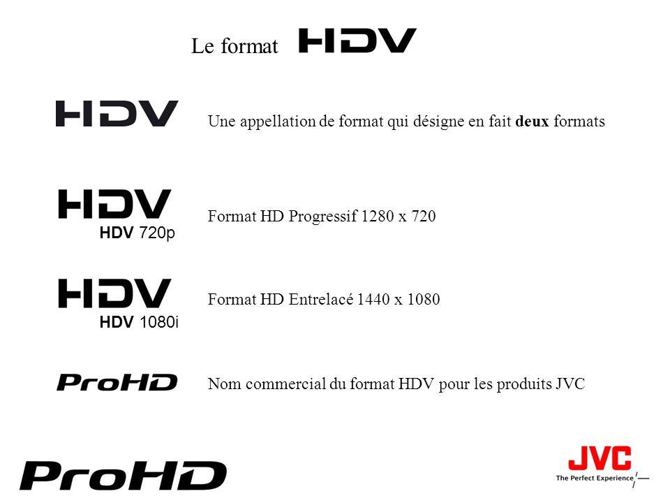 Le format Nom commercial du format HDV pour les produits JVC Une appellation de format qui désigne en fait deux formats HDV 720p Format HD Progressif