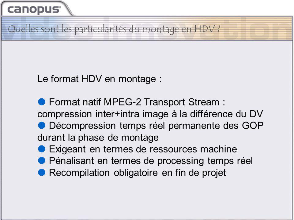 CIM 2003 Brand and Strategy Le format HDV en montage :  Format natif MPEG-2 Transport Stream : compression inter+intra image à la différence du DV  Décompression temps réel permanente des GOP durant la phase de montage  Exigeant en termes de ressources machine  Pénalisant en termes de processing temps réel  Recompilation obligatoire en fin de projet Quelles sont les particularités du montage en HDV