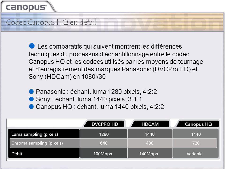 CIM 2003 Brand and Strategy Codec Canopus HQ en détail  Les comparatifs qui suivent montrent les différences techniques du processus d'échantillonnage entre le codec Canopus HQ et les codecs utilisés par les moyens de tournage et d'enregistrement des marques Panasonic (DVCPro HD) et Sony (HDCam) en 1080i/30  Panasonic : échant.