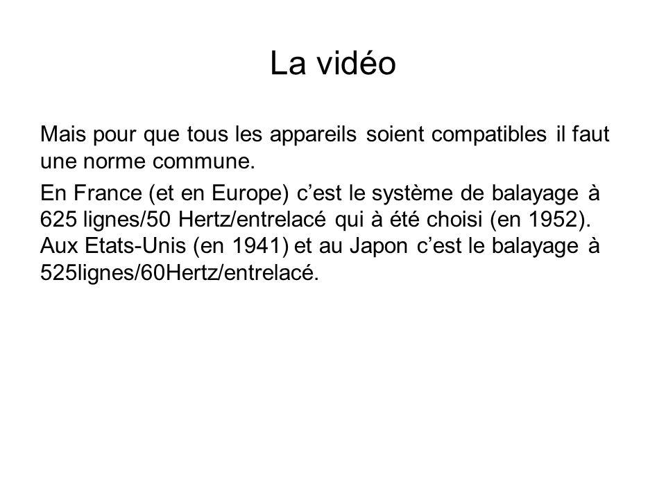 La vidéo Mais pour que tous les appareils soient compatibles il faut une norme commune. En France (et en Europe) c'est le système de balayage à 625 li
