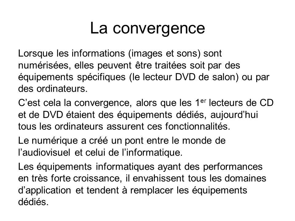 La convergence Lorsque les informations (images et sons) sont numérisées, elles peuvent être traitées soit par des équipements spécifiques (le lecteur