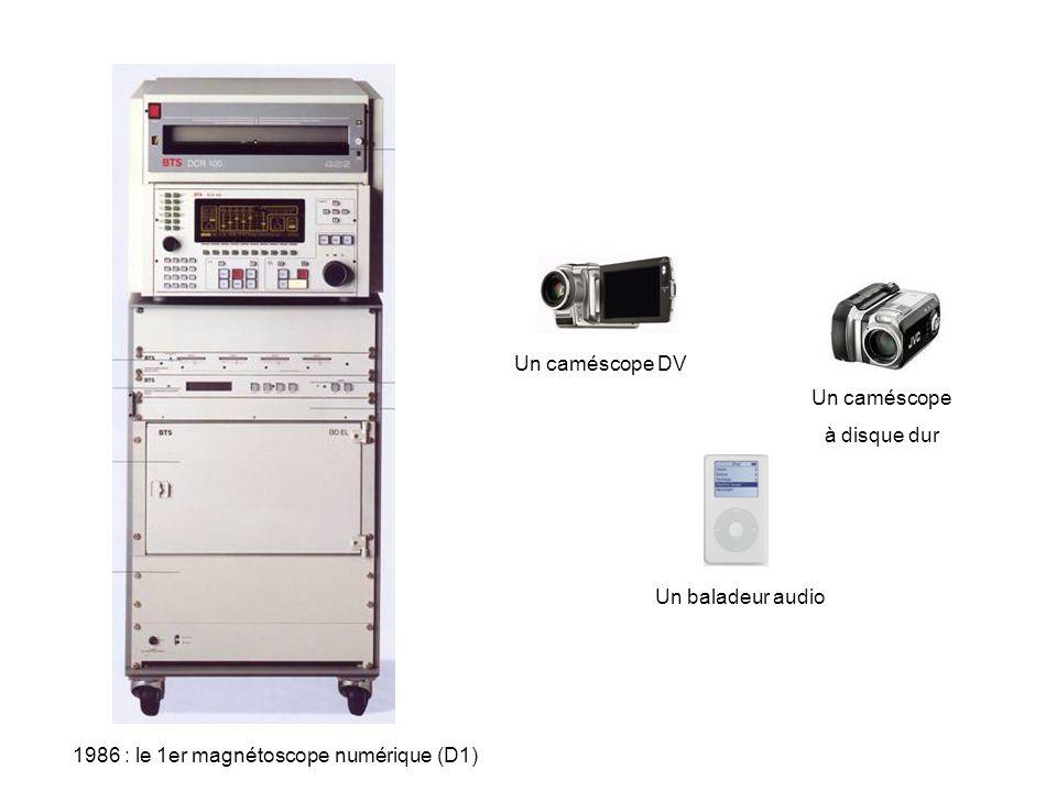 1986 : le 1er magnétoscope numérique (D1) Un caméscope DV Un baladeur audio Un caméscope à disque dur