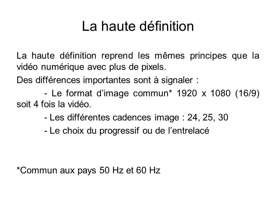 La haute définition La haute définition reprend les mêmes principes que la vidéo numérique avec plus de pixels. Des différences importantes sont à sig