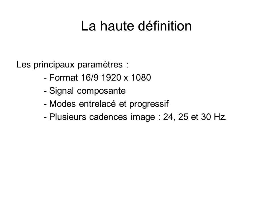 La haute définition Les principaux paramètres : - Format 16/9 1920 x 1080 - Signal composante - Modes entrelacé et progressif - Plusieurs cadences ima