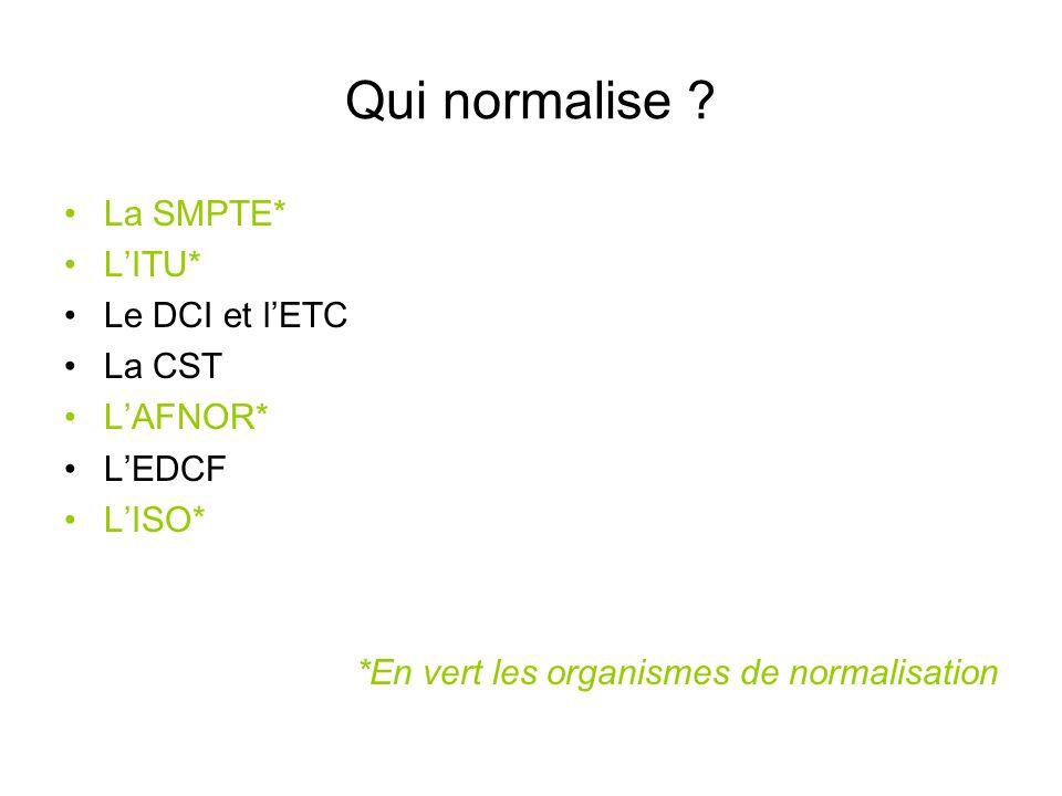 Qui normalise ? La SMPTE* L'ITU* Le DCI et l'ETC La CST L'AFNOR* L'EDCF L'ISO* *En vert les organismes de normalisation