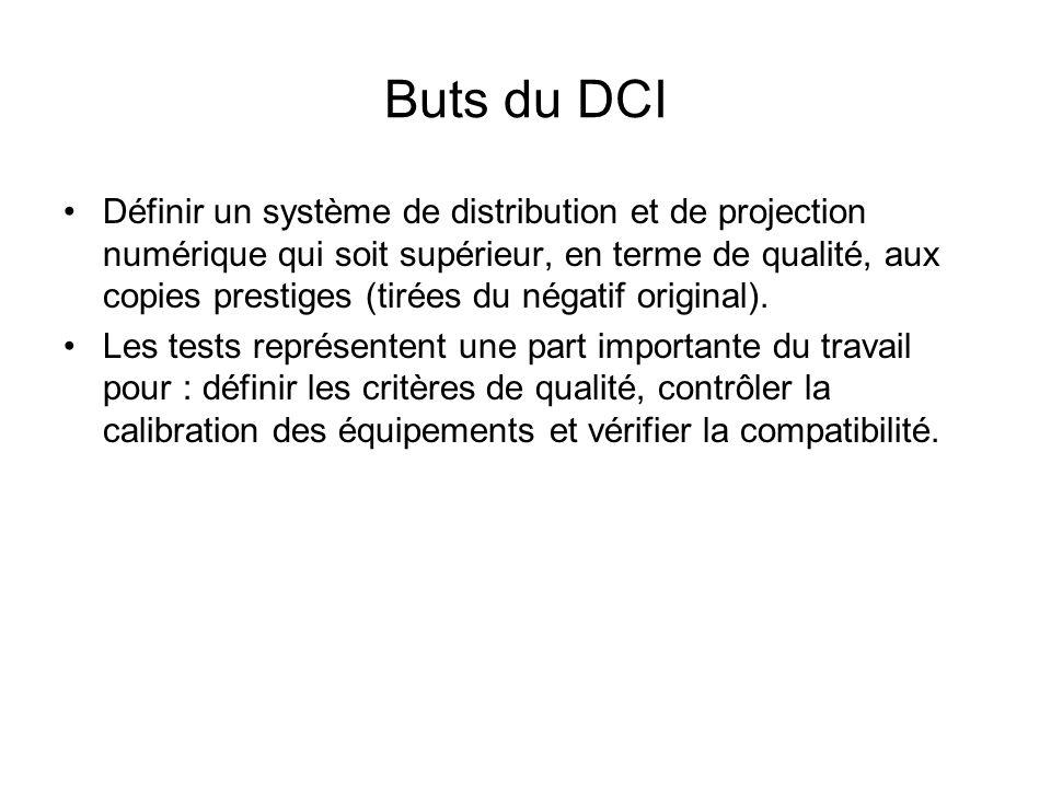 Buts du DCI Définir un système de distribution et de projection numérique qui soit supérieur, en terme de qualité, aux copies prestiges (tirées du nég