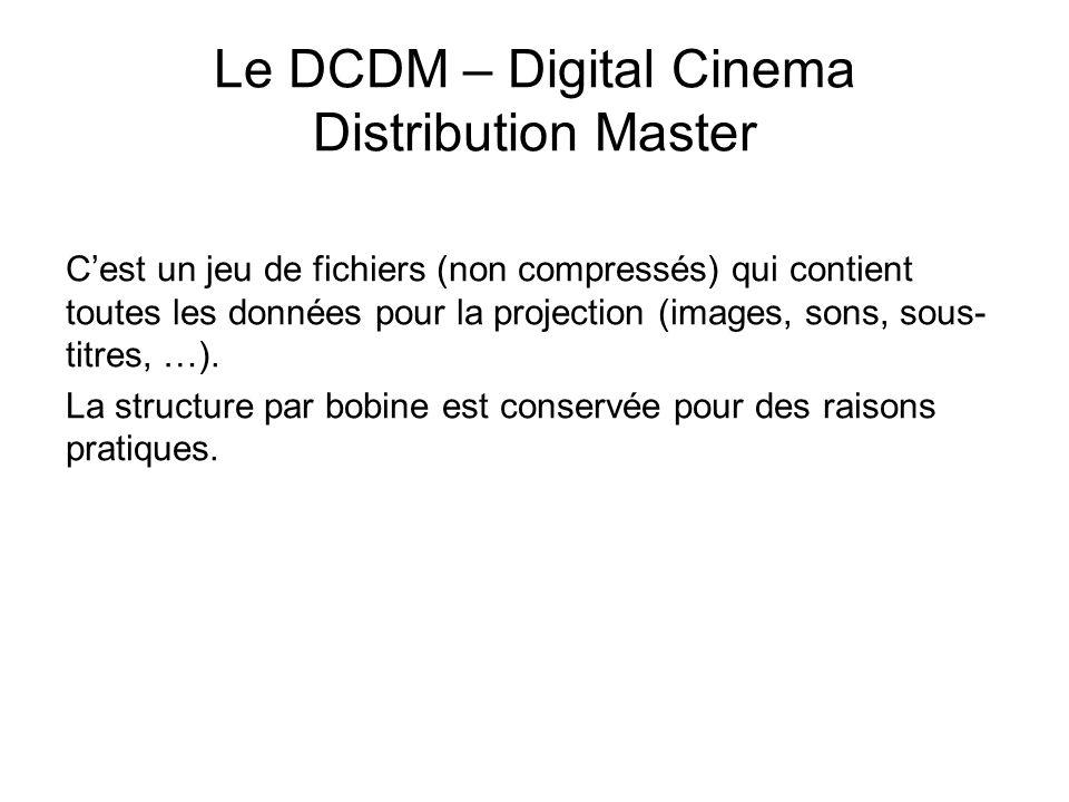 Le DCDM – Digital Cinema Distribution Master C'est un jeu de fichiers (non compressés) qui contient toutes les données pour la projection (images, son