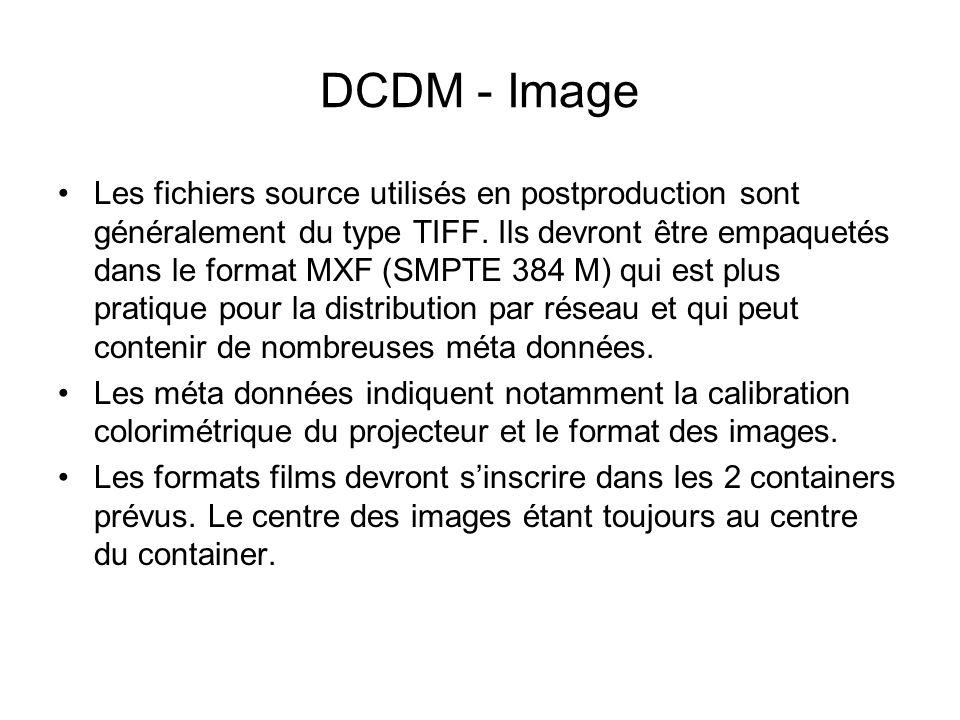 DCDM - Image Les fichiers source utilisés en postproduction sont généralement du type TIFF. Ils devront être empaquetés dans le format MXF (SMPTE 384