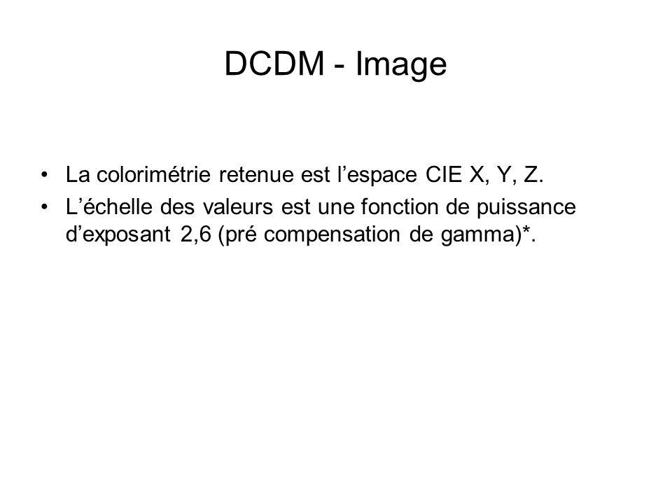 DCDM - Image La colorimétrie retenue est l'espace CIE X, Y, Z. L'échelle des valeurs est une fonction de puissance d'exposant 2,6 (pré compensation de
