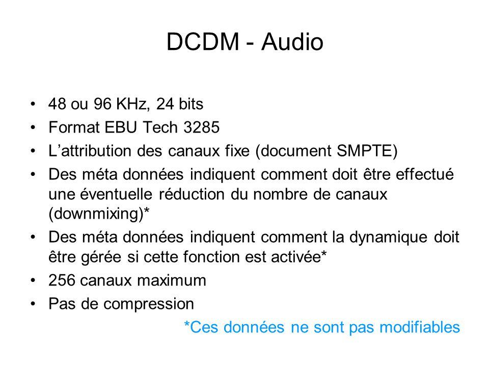 DCDM - Audio 48 ou 96 KHz, 24 bits Format EBU Tech 3285 L'attribution des canaux fixe (document SMPTE) Des méta données indiquent comment doit être ef