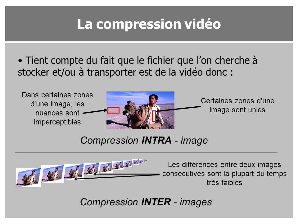 Tient compte du fait que le fichier que l'on cherche à stocker et/ou à transporter est de la vidéo donc : Certaines zones d'une image sont unies Dans