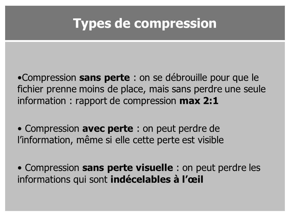 Compression sans perte : on se débrouille pour que le fichier prenne moins de place, mais sans perdre une seule information : rapport de compression m